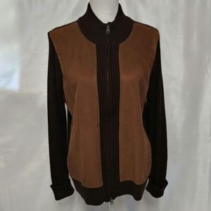 Jaclyn Smith Classic Plus Brown Faux Suede Jacket